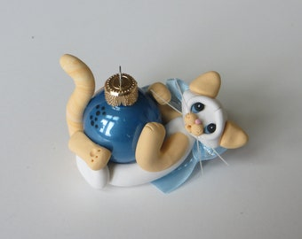 Polymer Clay Siamese Cat Christmas Ornament Flame Point