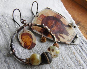 Bohemian earrings-rustic earrings-vintage look-pendant with religious icons-asymmetrical-brown-antique white
