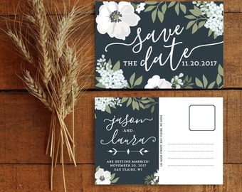Save the Date, Save the Date Postcard, Floral Save the Date, Botanical Wedding, Navy Blue, Ivory, Cream