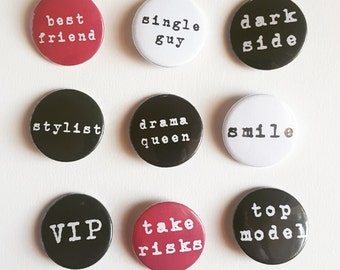 Badges with words; Funny graphic badges; Wodr pin badge; fashion accessories; for fashionistas ; stylist; christmas gift; smallgift;