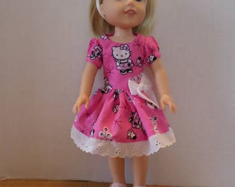Pink Hello Kitty dress and headband American made to fit 14 1/2 inch Wellie Wisher Girl Dolls