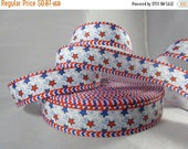 stars and stripes patriotic ribbon, american ribbon, 7/8 inch Ribbon by the yard, American craft supplies, RN16017