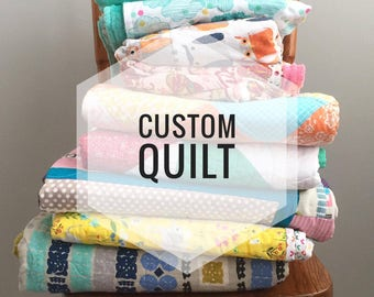 Custom Quilt Deposit, Modern, Contemporary, Bright, Heirloom Quality and Sure To Last You Years To Come ****Deposit Only*****