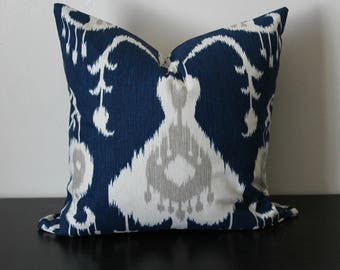 Decorative Throw Pillow, Indigo Blue and Ivory Ikat Pillow Cover, Accent Pillow,Toss Pillow, Lumbar Pillow, Sofa Pillow, 12x18,18x18,20x20