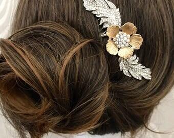 Art Deco feather hair comb, Wedding hair comb, Art deco wedding head piece,  LA PLUME