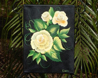 Shabby Chic, Hand painted, Handpainted, Roses, Floral, Acrylic