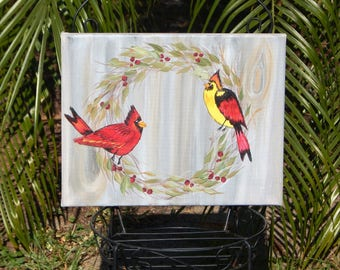 Shabby Chic, Hand painted, Handpainted, Cardinals, Wreath, Acrylic
