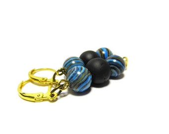Fordite Gold, Fordite Earrings, 24 Carat Gold Plate, Lever Back Ear Wires, Vintage Car Paint Beads, Black Rubber, Glass Beads, Motor Agate