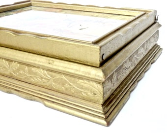 Vintage, Keepsake Letter Box with Mirrored Lid, Stationary Box, Love Letters, Edwardian Gilt