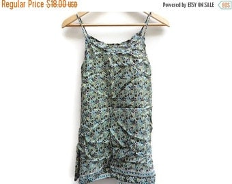 SALE Indian Paisley Tank top Blouse Green Vintage S M