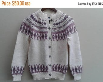 SALE Fisherman Fairisle Sweater Cream Pink Pure New Wool Made in Norway S M Vintage