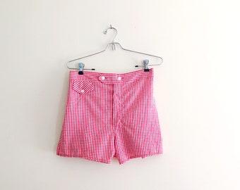 Vintage Gingham Print Highwaisted Flat Front Shorts // Seersucker Shorts // Red & White Shorts // Festival // 60s // Cotton