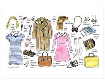 Wes Anderson costume  postcard - A6 - Margot Tenenbaum costume - Suzy Bishop costume -The Royal Tenenbaums - Moonrise Kingdom -greeting card