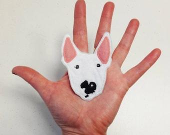 Your Bull Terrier Portrait Patch Personalized Custom Pet Gift.  Dog Portrait Patch Textile Art.
