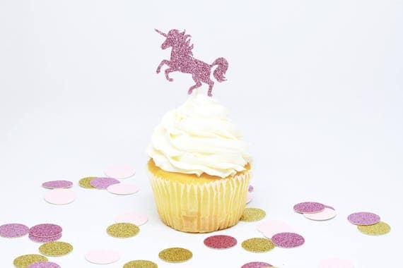 Unicorn Cupcake Toppers - Lavender Glitter - First Birthday Decor. Unicorn Party Decor. Birthday. Bachelorette Party. Birthday Party Decor.