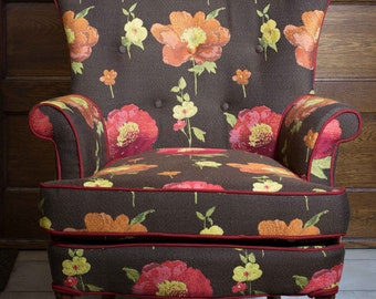 Floral Butterfly Wingback Chair | Wingback Chair | Repurposed Vintage Chair | Poppies | Milo Milo