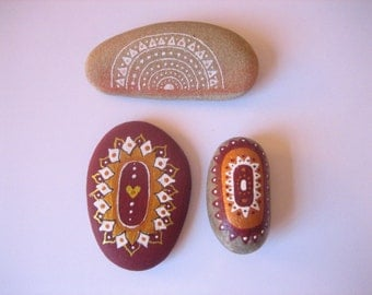 Hand painted set of 3  art stones.