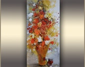 Floral Abstract Art Colorful Modern Oil Painting Flowers Abstract Painting ORIGINAL Abstract Art Red Bouquet, Wall Art Painting, Tatjana, TR