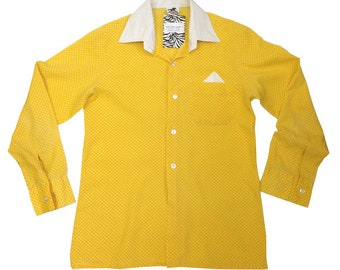 Vintage 90s Polka Dot Yellow Shirt | 8-9 years