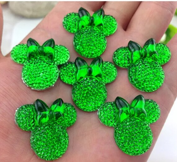6pcs Green 28mm Flat Back Mouse Head & Bow Resin Rhinestones Gems - DIY Craft Embellishments by MajorCrafts