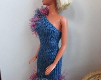 Barbie clothes - one-shoulder blue dress with fluffy border