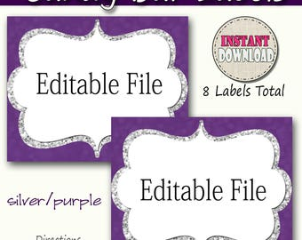 Candy Buffet Labels Purple, silver Print EDITABLE Card, Candy, Popcorn, Snack, Ice Cream, Cookie Buffet Labels, Instant Download