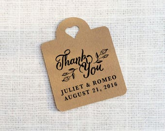 Thank You Wedding Favor Tags Kraft Paper Tags, Heart Tags Die-cut Custom Gift Tags - Set of 25 - Thank You Tags - Wedding Favor Tags