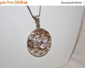 Christmas Sale Vintage Sterling Filigree Amethyst Pendant Necklace 1970s Jewelry