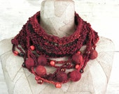 Art knit infinity scarf, scarf necklace, knit boho loop, Knitted wrap, burgundy red, Bohemian clothing, Gypsy shawl, rope wool felt gift