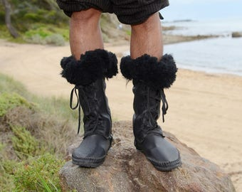 black lamb  fur and leather  moccasins boots