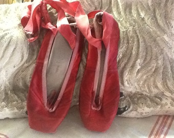 Vintage Red Pointe Ballet Shoes