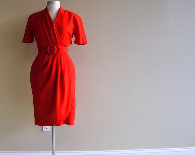 Red Dress Wool Crepe Bill Blass SMALL MED 1970s / 1980s Draped Wrap Dress Surplice Top Short Sleeve Work to Play to Cocktail Dress Blassport