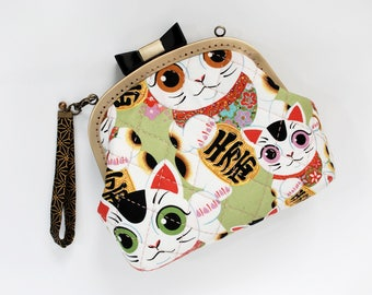 7'' Bowknot Clutch Bag - Fuku Kitty Sage