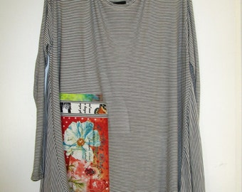 Artsy DragonFly  Upcycled Knit Shirt Top SZ 2X 3X