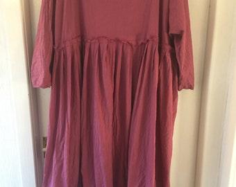 RITANOTIARA May empire line long raspberry dress  frayed edges All SIzes hand dyed linen prairie boho beachwear gypsy made to order in UK