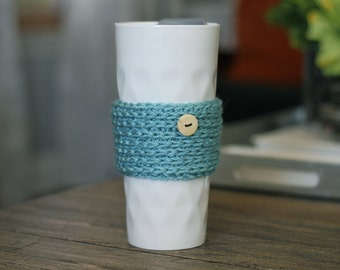Travel Mug Cover, Blue Crochet Coffee Cup Cozy. Best Friend and Sister Gift Under 20. Coffee Lovers Gift.