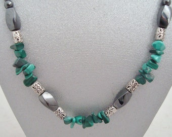 Magnetic Hematite Twist Necklace Featuring Malachite Chips with Silvertone Accents