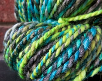 Handspun Yarn, Art Yarn, 2 Ply, Bulky, Wool, Knit, Doll Hair, Superwash, Tropic Lime