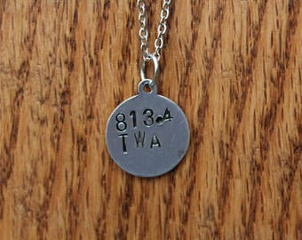 813.4 TWA - Mark Twain Dewey Decimel Metal Stamped necklace
