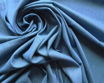 Mid Blue 4oz Denim Cotton Fabric - Enzyme washed for softness - Sold By The Metre - UK SELLER