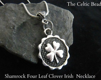 Four Leaf Clover Shamrock Silver Necklace