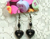 Black Puff Heart Earrings