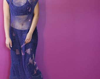 Shredded Bleached Purple Dress ~ slowshine