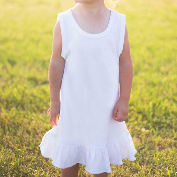 Size 6 Dress Tshirt dress Blank Tank Ruffle Frill Bottom Monag White Style 420174 100% Ring spun combed  Interlock cotton Embroidery