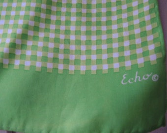 Vintage Echo scarf  green and white plaid gingham 15 x 46 inches