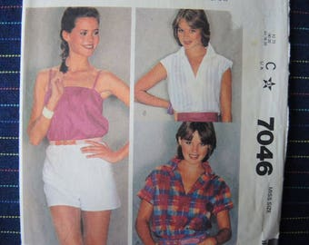 vintage 1980s McCalls sewing pattern 7046 misses shirt and camisole size 14-16