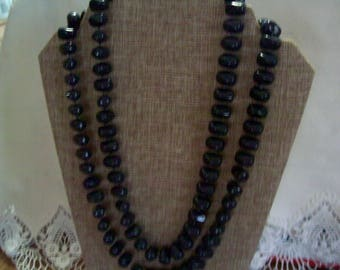 Blue bead necklace, hippie, boho, As is
