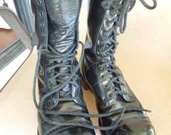 "Men's Corcoran 1500 10"" Jump Boot, Black Military Boots, Size 9 1/2"" D, Vintage, Steam Punk, Goth Wear"