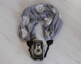 Camera strap Luxury camera strap Moonlight camera strap Scarf camera strap DSRL camera strap Camera scarf strap Gray fabric camera strap