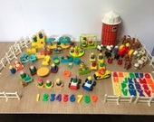 Vintage Fisher Price Little People Lot Farm School House 86 Pieces Alphabet Toys 60's 70's 80's Car Bathroom Rocking Horse Baby Playground